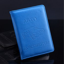 Wholesale Drive Document - Russian Men Women Card Holder Passport Cover Quality PU Leather Auto Driver License Bag For Car Driving Documents Card Credit