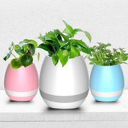 Wholesale Green Flowerpot - Hot mini smart flowerpot sensor Bluetooth speaker Flower pot Plastic Green plant pots decorative Macetas pot Playing Smart Music