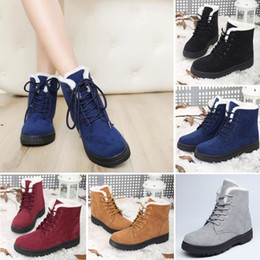 Wholesale Nubuck Ankle Boots Womens - Womens Winter Warm Casual Faux Suede Fur Lace-up Ankle Boots snow boots women Fashion Boots US Size4.5-10