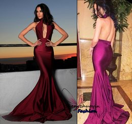 Wholesale Wine Red Silk Shirt - Sexy Mermaid Prom Dresses 2017 High Collor Wine Burgudy Satin Sleeveless Backless Court Train Party Gowns Custom
