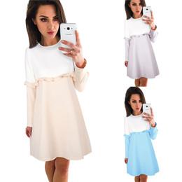 Wholesale ladies wholesale office dresses - Women Loose Dress back zippers Patchwork Ruffles long Sleeve office Madi Dresses ladies 2017 Autumn vestidos Female DHL 171008