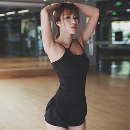 Wholesale Tights Sexy Tops - Padded Yoga Top Women Sleeveless Running Tight Elastic Sexy Sports Tank For Fitness Gym Women's Sports Tank Tops Wholesale 2501100