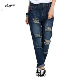 Wholesale 4xl Jeans For Women - Big Size 5XL 4XL 3XL High Waist Jeans For Women 2017 Spring Fashion Ripped Hole Distrresed Pockets Denim Pencil Pants