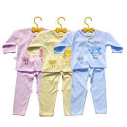 Wholesale Cartoon Blue Butterfly - Wholesale- 1 Set Full Sleeve Underwear Pants Suit Set Baby Cute Cotton Clothing Boy Girl Yellow Pink Light Blue Bear Cartoon Butterfly