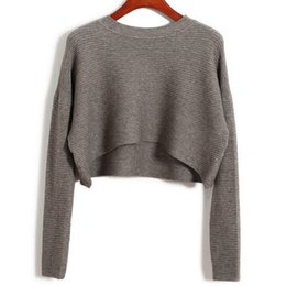 Wholesale Korean Fashion Sexy - Wholesale-New 2016 Womens Fall Fashion Sexy High Waist Short Crop Sweaters And Pullovers Korean Autumn Cropped Jumpers Sueter Feminino