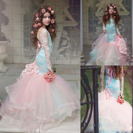 Wholesale White Lace Girls 12 Dress - Gorgeous Blue And Pink Girls Pageant Gowns 2017 Lace Long Sleeves Backless Mermaid Flower Girl Dresses For Wedding Children Party Dresses