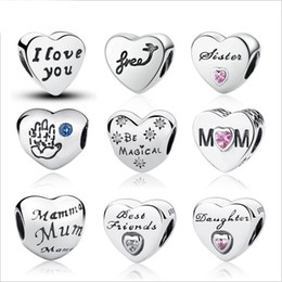 Wholesale Sterling Silver Alphabet Letters - 2017 Newest Genuine 925 Sterling Silver Alphabet Letters Heart Charm Beads for Women Fit Pandora Charms Bracelet DIY Jewelry Making