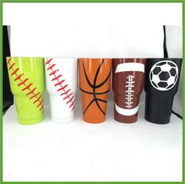 Wholesale Basketball Wholesales - 4 Designs Baseball Softball Basketball American Football 30oz Tumbler Cup Vacuum Insulated Beer Mug Stainless Steel Mug CCA6319 30pcs