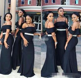 Wholesale Dark Blue Crystal Wedding Belt - Custom Made Black Bridesmaid Dresses 2017 Spaghetti Crystals Belt Mermaid Long Wedding Guest Gowns Maid of Honor Party Dress Plus Size Cheap