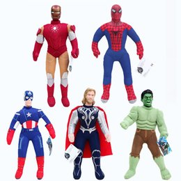 "Wholesale Stuffed Spider Baby Toy - 5 Style 15.7"" 40cm The Avengers Captain America Spider-man Thor Iron man Hulk Plush Doll Stuffed Toy For Baby Gift akye-029"