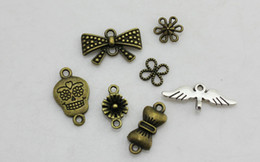 Wholesale Skull Earrings Wings - Metal Alloy Antique Bronze Jewelry Accessories DIY Art Craft Pendant Bracelet Necklace Earring Fashion Accessories Floral Knot Skull Wing