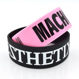 Wholesale Silicone Bracelets For Letters - Wide band High quality custom silicone wristband with your writing or logo printed. Custom silicone bracelet for promotional gift SWW002
