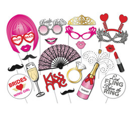 Wholesale Hens Night Games - 22PCS Hen Party Photo Booth Props Kit Night Games Accessories Favors DIY Night Out Decorations Bachelorette Party Accessories
