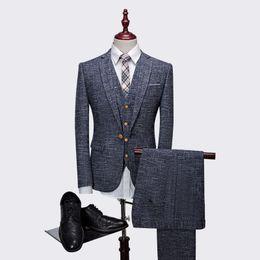 Льняные жилеты онлайн-Wholesale- 3pieces suit men high quality linen business formal wear blazer men korean slim fit mens suit  clothing (jacket+pant+vest)