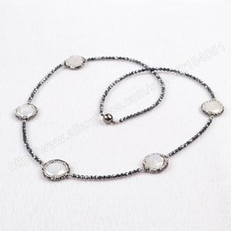 Wholesale Green Round Freshwater Pearls - Five Round Natural Freshwater Pearl Beads & Small Hematite Beads Necklace Crystal Rhinestone Pave Zircon Magnet Clasp JAB204