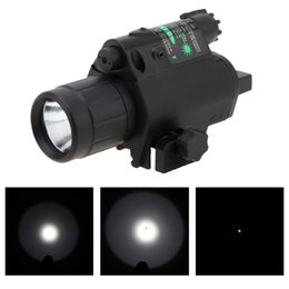 Wholesale Torch W - Hot Sale 2 in 1 Airsoft Hunting M6 CREE LED Torch Tactical 200LM Laser Flashlight Combo Light + Green Laser Sight w  Tail Switch