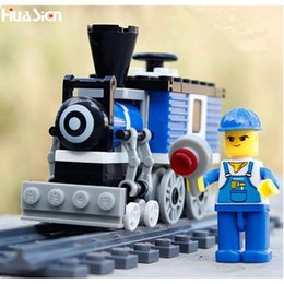 Wholesale Enlighten Blocks Train - Wholesale- The Best Gift for Kids Boys! DIY Enlighten Train Model Building Bricks Toys Plastic Educational City Railway Blocks Kit
