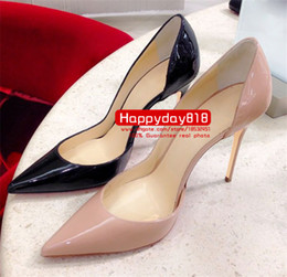 nude dresses Promo Codes - Free shipping fashion women pumps Black nude patent leather point toe high heels shoes boots genuine leather 120mm sexy lady cone heels