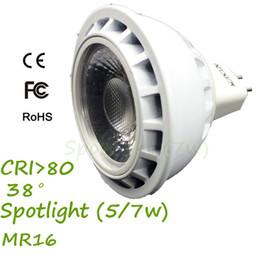 Wholesale Mr16 Lighting Angle - AC DC12V MR16 LED 5W G5.3 Bulb Spotlight Lamp Die-Casting Al Hosing Lens 38 Beam Angle Warm White 3000K, Recessed Bulb Lights