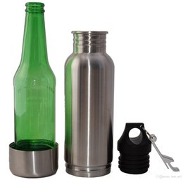 Wholesale Neoprene Beer - 12oz Bottle keeper 304 Stainless Steel Beer Bottle Koozie Keeper Cold Insulated Neoprene Fashion Containers & Thermoses Sliver Black CPF009