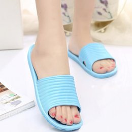 Wholesale Pvc Bath - Good Quality Women Flat Home Bath Slippers Summer Sandals Nonslip Indoor Outdoor Shoes 5 Colors for Choice