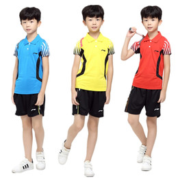 Wholesale Dress Shirts Xxl - Hot, badminton wear tennis dress boy   girl (shirt + shorts) wear sports shirts summer leisure sports clothes breathable, quick drying cloth