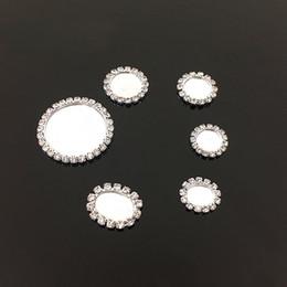 Wholesale Pendant Hair - Wholesale 100pcs White Flatback Charm Rhinestone Base Setting Pendant Fit Cabochon DIY Hair Jewelry Size 32mm 22mm 18mm 16mm