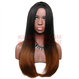 peluca lolita resistente al calor Rebajas Barato Extre largo pelucas del pelo sintético peluca recta Lolita Drag Party Celebrity peluca negro Ombre Light Brown peluca resistente