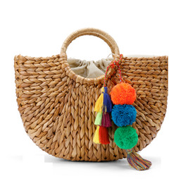 Wholesale Large Straw Bags - Beach Bag Straw Basket Totes Bag Bucket Large Big Summer Bags with Tassels Pom Pom Women Natural Handbag 2017 New High Quality C95