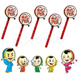 Wholesale Toy Drum Sets For Kids - Wholesale- Chinese Traditional Spin Toy Rattle Drum Kids Cartoon Hand Bell Plastic For Baby