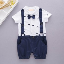Wholesale Brand Baby Boy Clothing - Retail Baby Boys Gentleman Rompers anchor Print Summer One Piece Short Sleeve Jumpsuits Overalls Clothing Toddler Clothes E12330