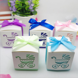 Wholesale New Years Boxed Card - Hollow baby cart candy box baby stroller baby shower favor gift boxes wedding supplies candy chocolate boxes with ribbon