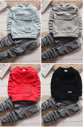 Wholesale toddler long sleeves shirts - Toddler Kids Baby Boys Long Sleeve Top T-shirt +Pants Cotton Outfit 1-4Years