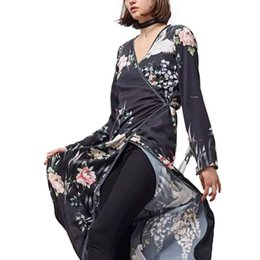Wholesale Bird Wrap - Women Flower Crane Print Maxi Wrap Dress Long Sleeve Vintage Bird Pattern Long Loose Dresses