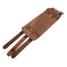 Wholesale Rock Wristbands - Wholesale- Splendid Punk New 2 Layer Belt Men Genuine Cow Leather Rock Bracelet 3 Buckle Wristband Cuff Bangle 52H8