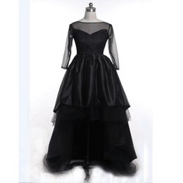 Wholesale High Low Couture Dresses - Couture Black Long Sleeves Flower Girl Dresses 2017 High Low Girl Wedding Party Dress Real Photo Kids Pageant Gowns Girls Evening Dresses