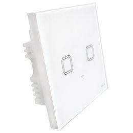 Interruptor de luz wifi de 2 bandas inteligente en el hogar Reino Unido estándar wifi 4g 3g control remoto por android aplicación móvil iPhone panel de vidrio de pantalla táctil 3mm desde fabricantes