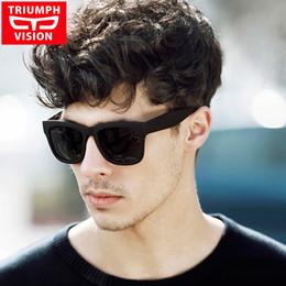 Wholesale Sunglasses Polarized Male - Wholesale- TRIUMPH VISION Male Polarized Sunglasses Men Brand Black Square Shades UV400 Polaroid Sun Glasses For Men Cool Oculos Lunette