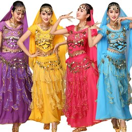 Wholesale Sexy Belly Dance Costume Set - 4pcs Sets Sexy India Egypt Belly Dance Costumes Bollywood Costumes Indian Dress Bellydance Dress Womens Belly Dancing Costume