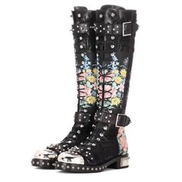 Wholesale Decorations For Boots - New Cross Tied Motorcycle Boots For Women Embroiderd Rivet With Metal Decoration Buckle Print Flower Genuine Leather Knee-High Boot D02002