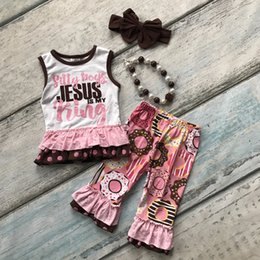 Wholesale Baby Jesus - Summer baby girls outfits capris ruffles Doughnut cotton Jesus is my king boutique clothes kids sets cute matching accessories
