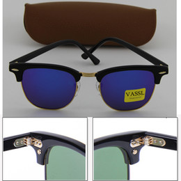 Wholesale Coat Colorful Men - Brand Vassl blue Colorful lens 51MM Designer Men Women Black Plank Frame Coating High Quality Sunglasses Sun Glasses With Box Case