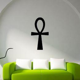 Wholesale Egyptian Wall Art - Hot Egyptian Ankh Symbol Ribbon Special Shape Wall Decal Stickers Bedroom Living Room Decorative Murals Vinyl Art DIY