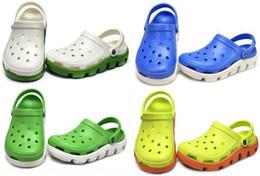 Wholesale Fashion Clogs - Free shipping Fashion unisex PVC Crocodile Shoes Adult Summer Spring Autumn Hole US Size M4 W6-M10-W12 Clogs Duet Sport
