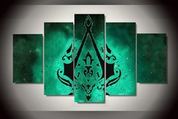 Wholesale Life Signs - 5pcs set Unframed Assassin's Game Sign Green Game Poter HD Print On Canvas Wall Art Painting For Living Room Decor