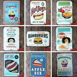 Wholesale Wholesale Snack Cakes - Tin Painting Sign Cake Snacks Hamburger Retro Poster Metal Painting Tin Sign Ktv Bar House Decor Vintage Signs 20*30cm Paint