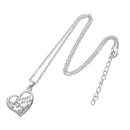 Wholesale Wholesale Mothers Day Gifts Cheap - Online Cheap Mothers Gift MOM letter Necklace Open Heart Shape Floating Pendant Necklace