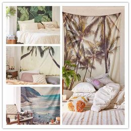 Wholesale Woven Tapestry Throw Blanket - Coconut Tree Mandala Printed Tapestry Sunlight Beach Wall Cloth Hanging Tapestries Beach Throw Picnic Blanket Decoration Towel