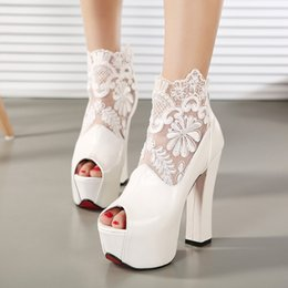 Argentina Nueva Moda Peep Toe Summer Wedding Boots Sexy Blanco Lace Prom Evening Party zapatos nupciales de tacones altos Señora Formal Dress Shoes bridal shoes chunky heels promotion Suministro