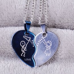 Wholesale Heart Shape Couple Necklace - Wholesale-1pc New Stainless Steel Two Color His and Hers Double-colors Heart-Shaped Love You Couple Pendant Necklace Charm Choker Necklace